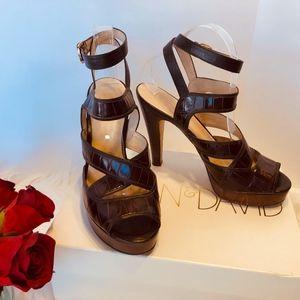 Joan & David Dk Brown Platform Sandal Heels